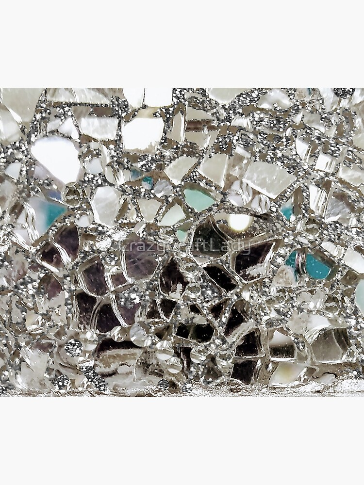 An Explosion of Sparkly Silver Glitter, Glass and Mirror by CrazyCraftLady