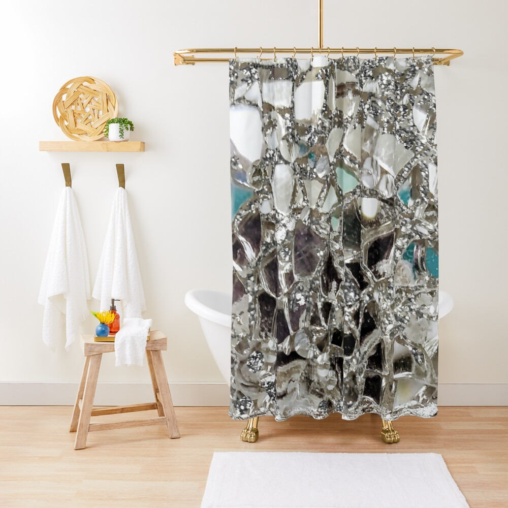 An Explosion of Sparkly Silver Glitter, Glass and Mirror Shower Curtain