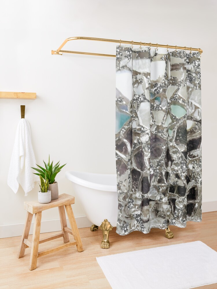 Alternate view of An Explosion of Sparkly Silver Glitter, Glass and Mirror Shower Curtain