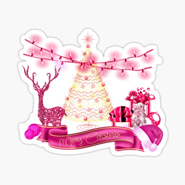 Golden And Pink Merry Christmas Sticker