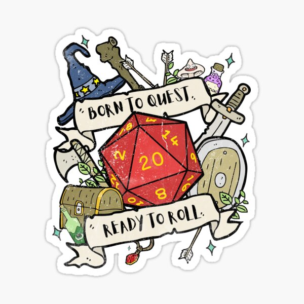 Born To Quest RPG Tee Sticker