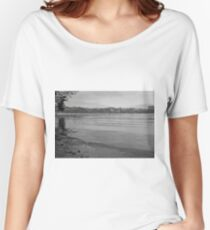 Tranquil River Fal in Black and White Women's Relaxed Fit T-Shirt