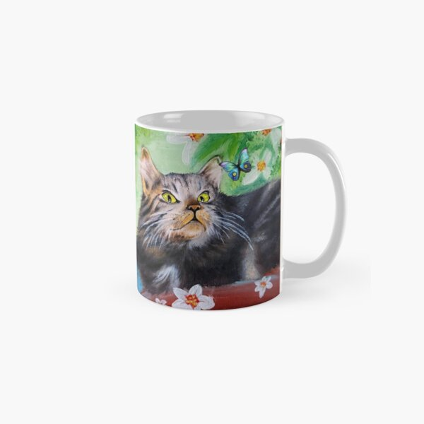 Cat Playful Portrait and Butterfly Classic Mug