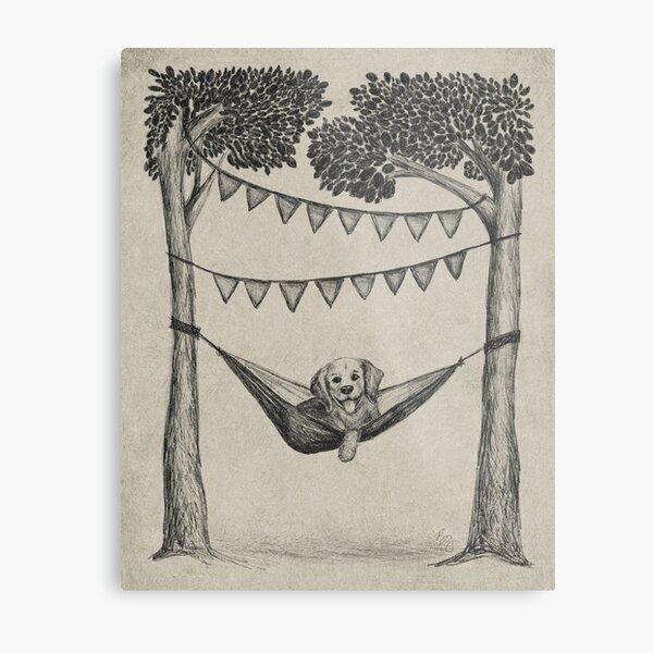 Dog in Hammock Sketched Illustration Metal Print