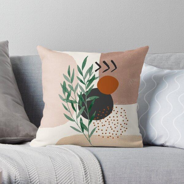 Eukalyptuszweig Abstrakte Aquarell-tropische Boho-minimalistische Kunst mit warmen Erdtönen und Pastellfarben mit festen und weichen Verlaufsformen XI Dekokissen