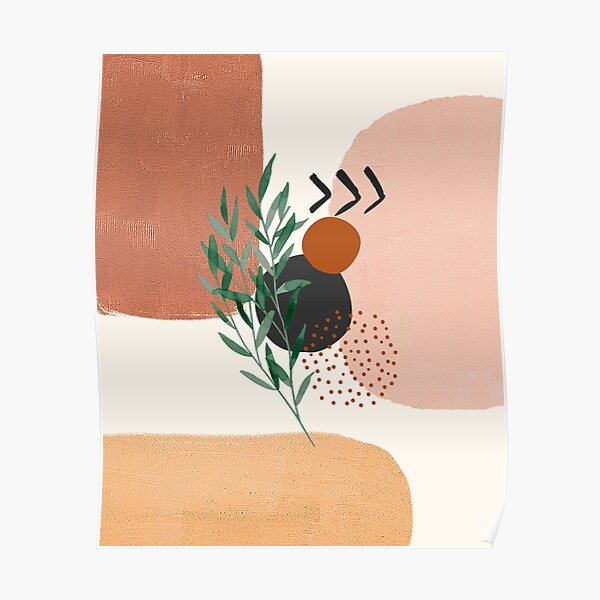 Eucalyptus Branch Abstract Watercolor Tropical Boho Minimalist Art with warm earthy tones and pastel colors with solid soft gradient shapes XII Poster
