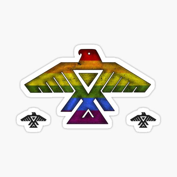 Anishinaabe Anisnaabe Thunderbird Pheonix Bird Flag Symbol by Grand Chief Ben Wawia Grunge LGBT Rainbow Pride Black Background HD Sticker