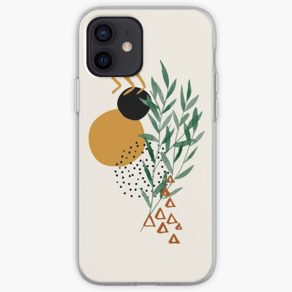 Eucalyptus Branch Abstract Watercolor Tropical Boho Minimalist Art with warm earthy tones and pastel colors with solid and soft gradient shapes XIV iPhone Soft Case