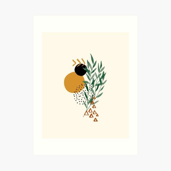 Eukalyptuszweig Abstrakte Aquarell-tropische Boho-minimalistische Kunst mit warmen Erdtönen und Pastellfarben mit festen und weichen Verlaufsformen XIV Kunstdruck