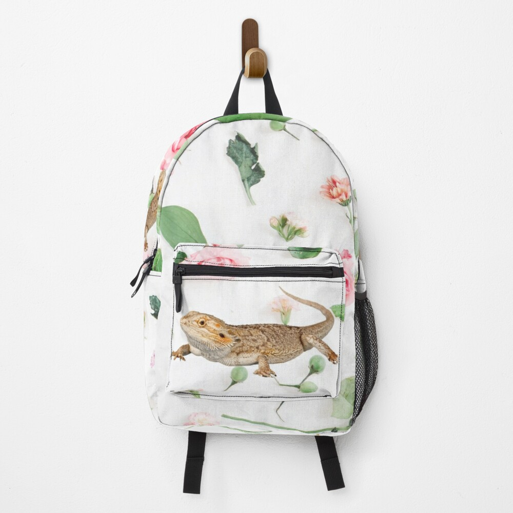 Bearded Dragon On A Carnation Background Backpack