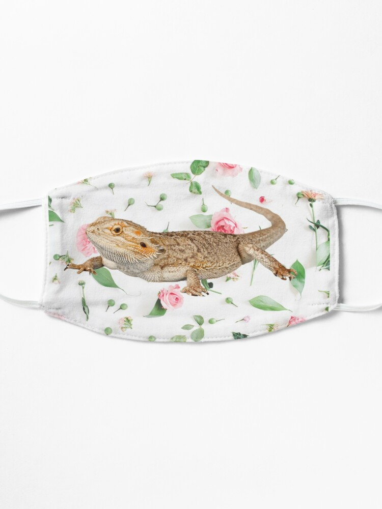 Alternate view of Bearded Dragon On A Carnation Background Mask