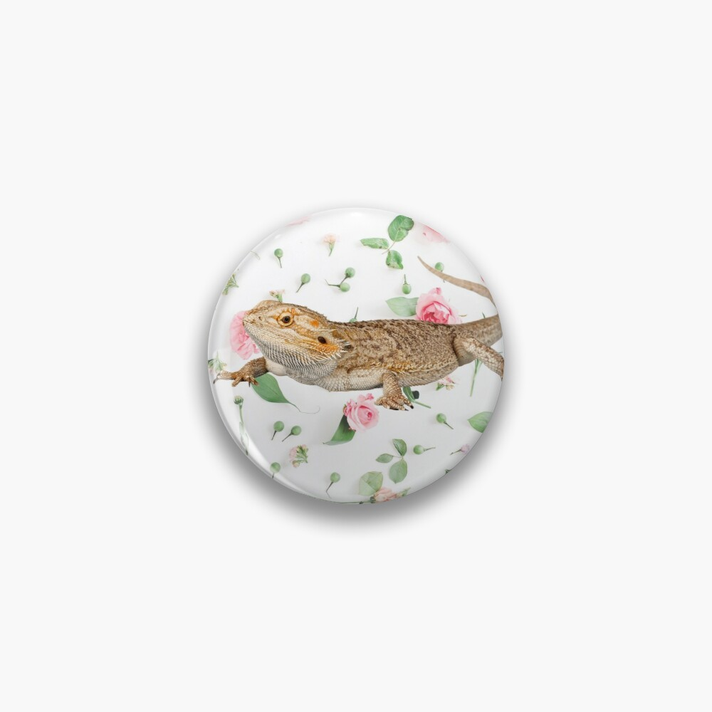 Bearded Dragon On A Carnation Background Pin