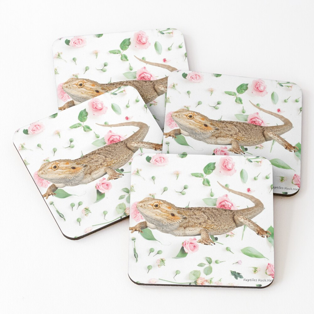 Bearded Dragon On A Carnation Background Coasters (Set of 4)