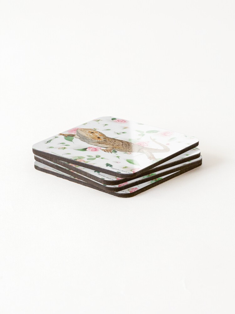 Alternate view of Bearded Dragon On A Carnation Background Coasters (Set of 4)