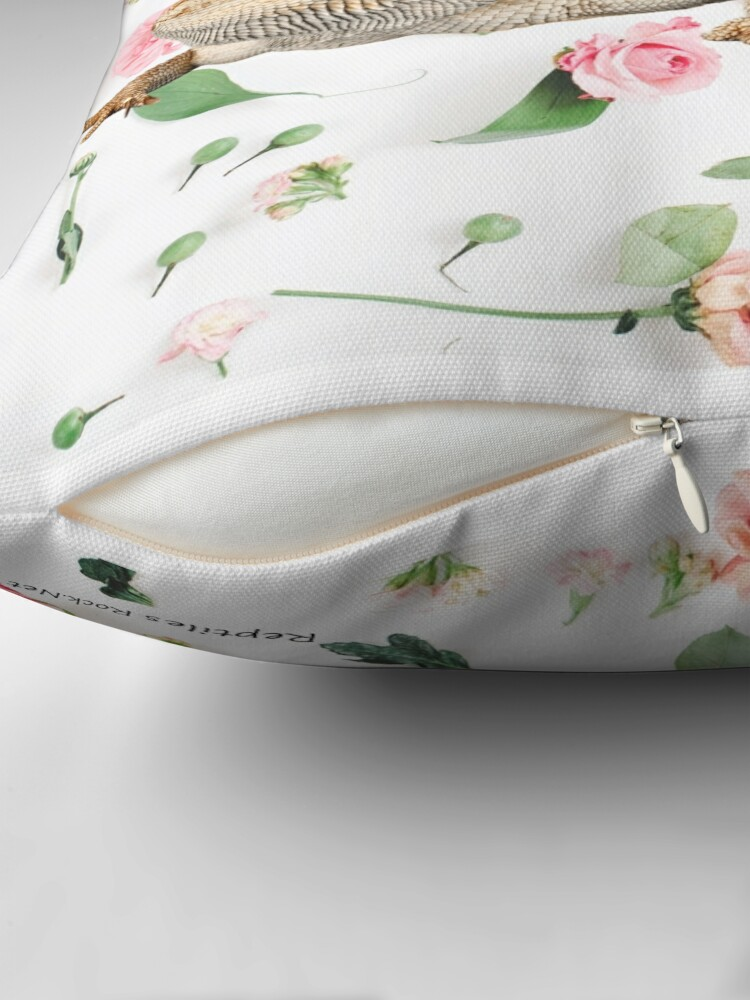 Alternate view of Bearded Dragon On A Carnation Background Throw Pillow