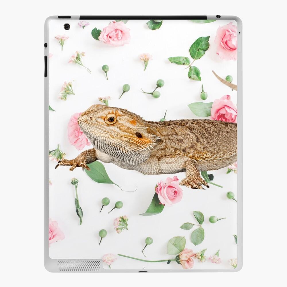Bearded Dragon On A Carnation Background iPad Case & Skin