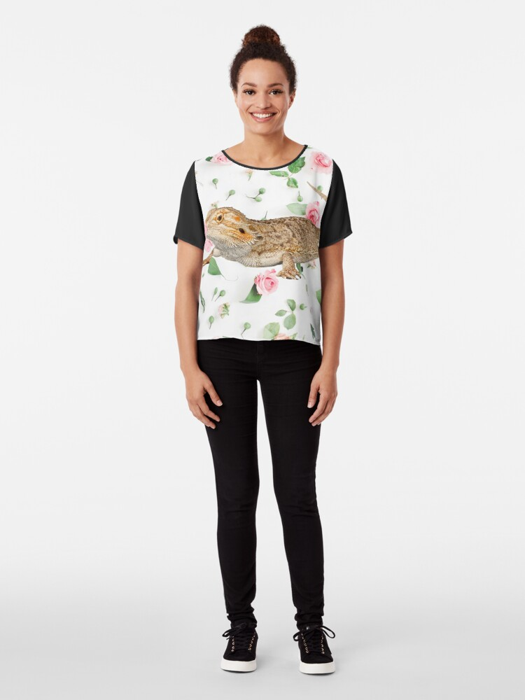 Alternate view of Bearded Dragon On A Carnation Background Chiffon Top