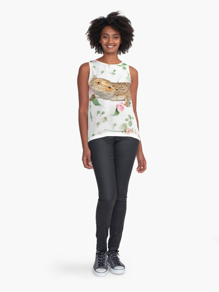 Alternate view of Bearded Dragon On A Carnation Background Sleeveless Top