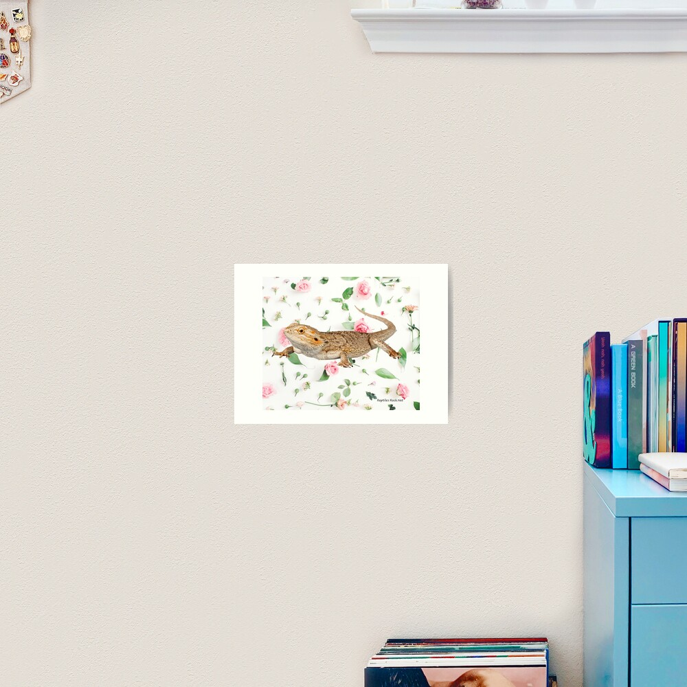 Bearded Dragon On A Carnation Background Art Print
