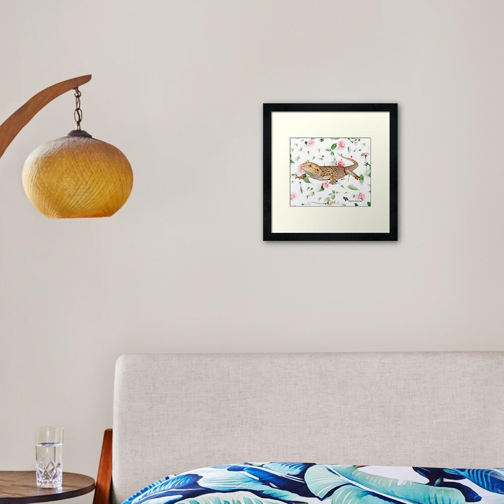 Bearded Dragon On A Carnation Background Framed Art Print