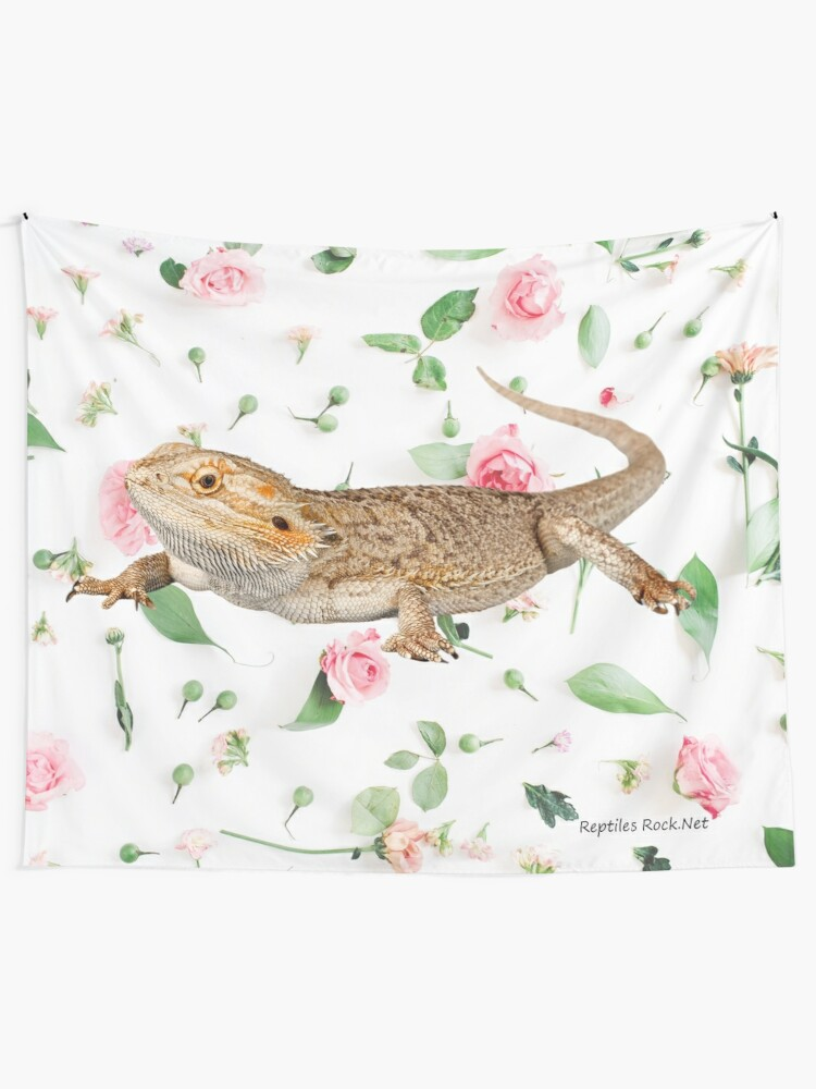 Alternate view of Bearded Dragon On A Carnation Background Tapestry