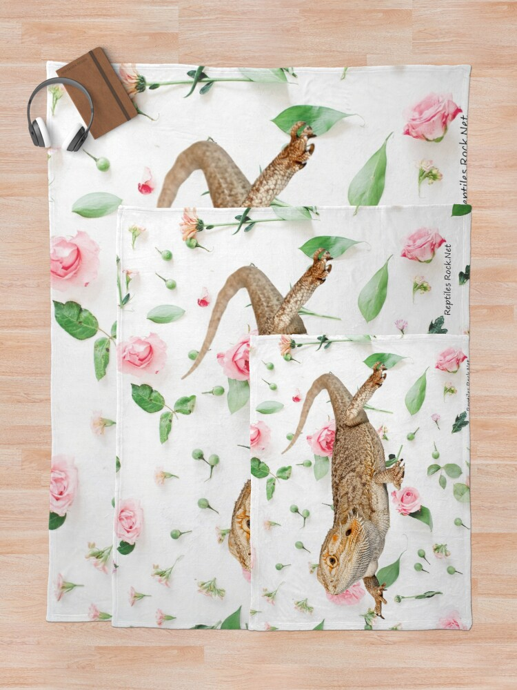 Alternate view of Bearded Dragon On A Carnation Background Throw Blanket