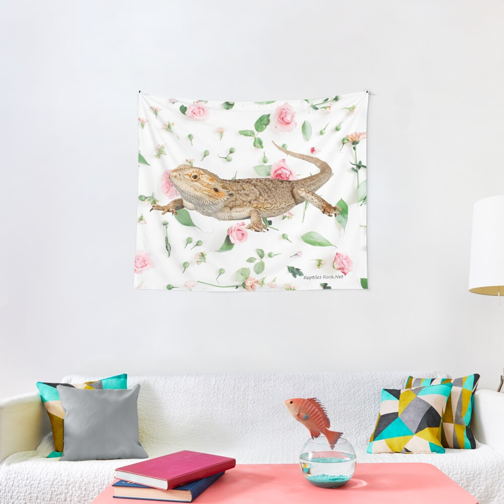 Bearded Dragon On A Carnation Background Tapestry