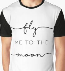 Fly Me to the Moon in Black & White Graphic T-Shirt