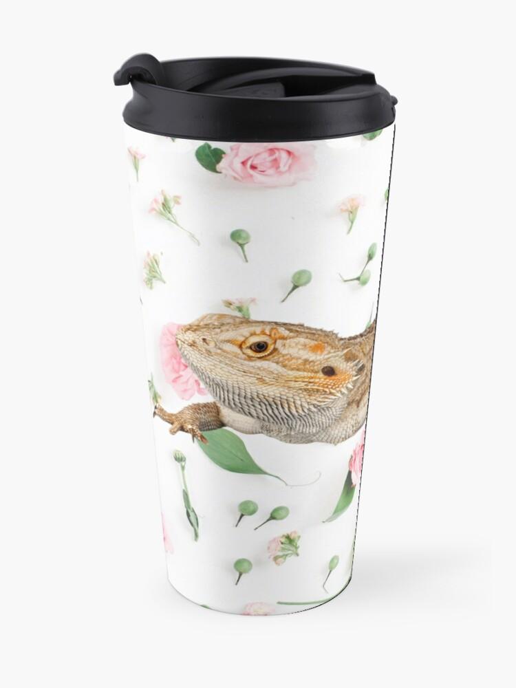 Alternate view of Bearded Dragon On A Carnation Background Travel Mug