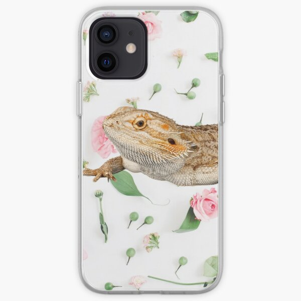 Bearded Dragon On A Carnation Background iPhone Soft Case