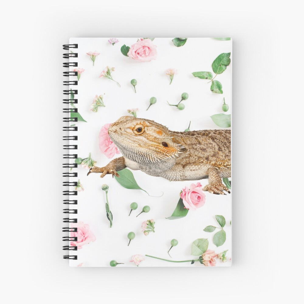Bearded Dragon On A Carnation Background Spiral Notebook