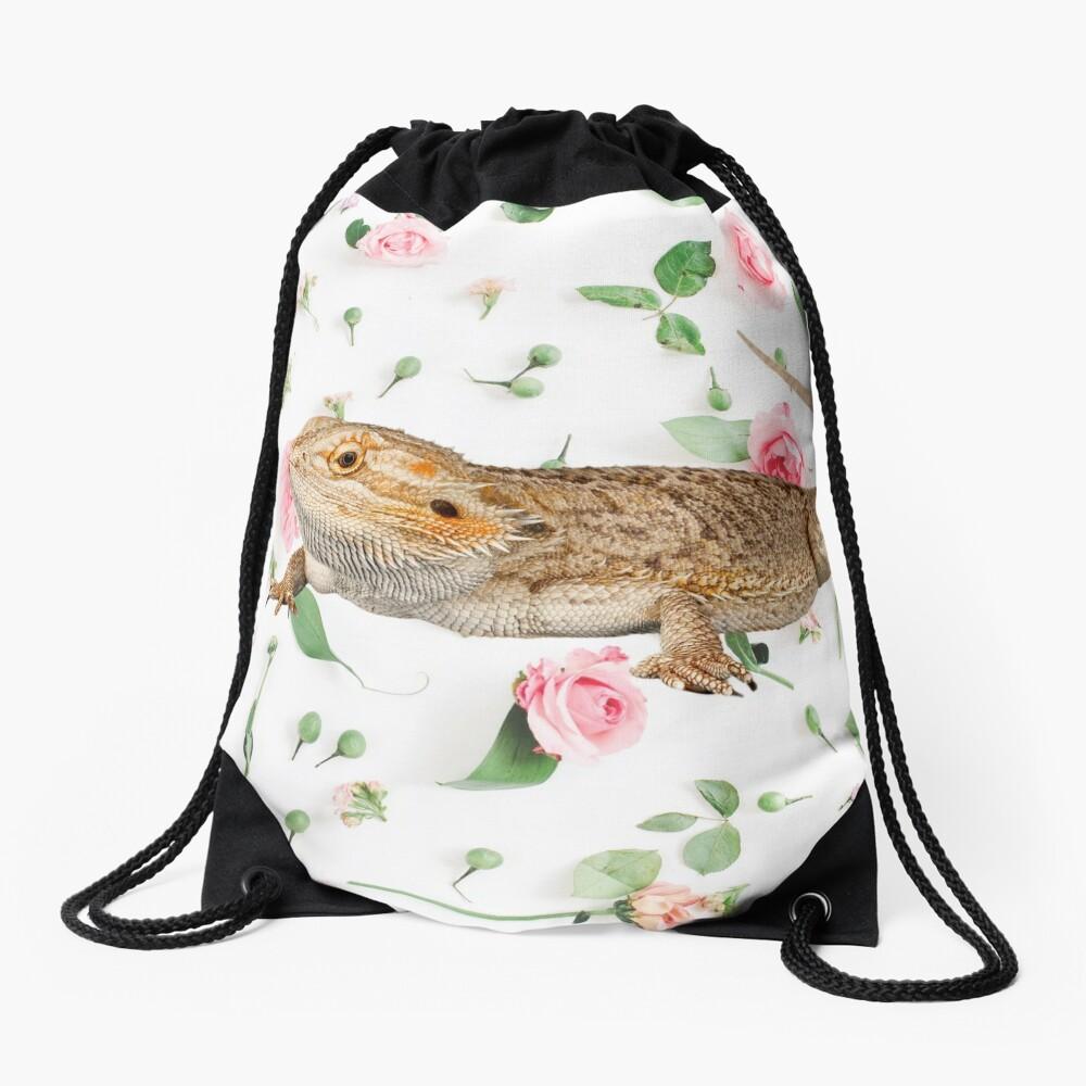 Bearded Dragon On A Carnation Background Drawstring Bag