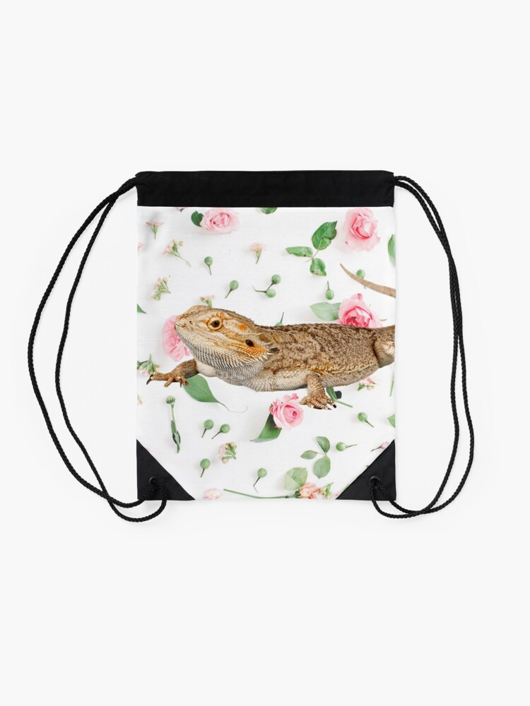 Alternate view of Bearded Dragon On A Carnation Background Drawstring Bag