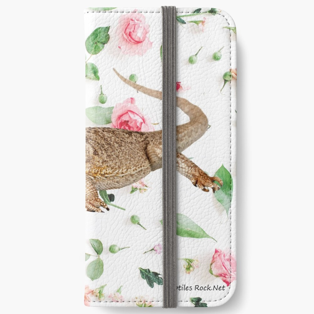 Bearded Dragon On A Carnation Background iPhone Wallet