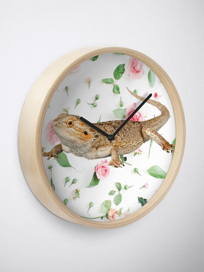 Alternate view of Bearded Dragon On A Carnation Background Clock