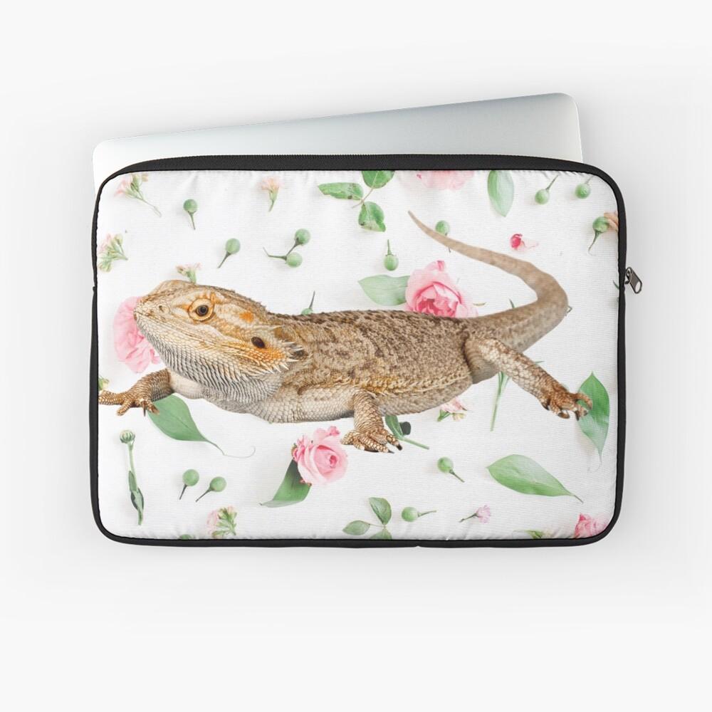 Bearded Dragon On A Carnation Background Laptop Sleeve