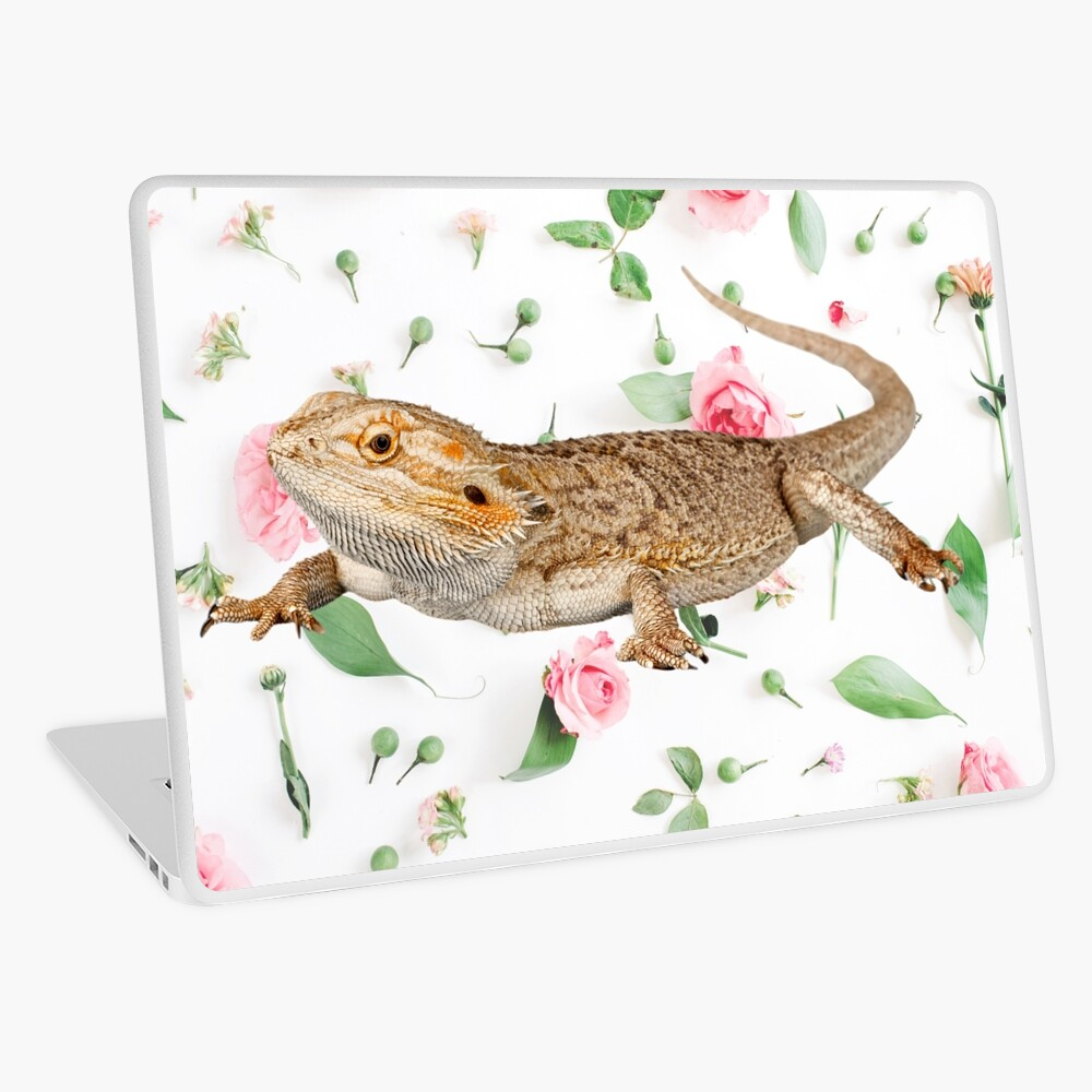 Bearded Dragon On A Carnation Background Laptop Skin