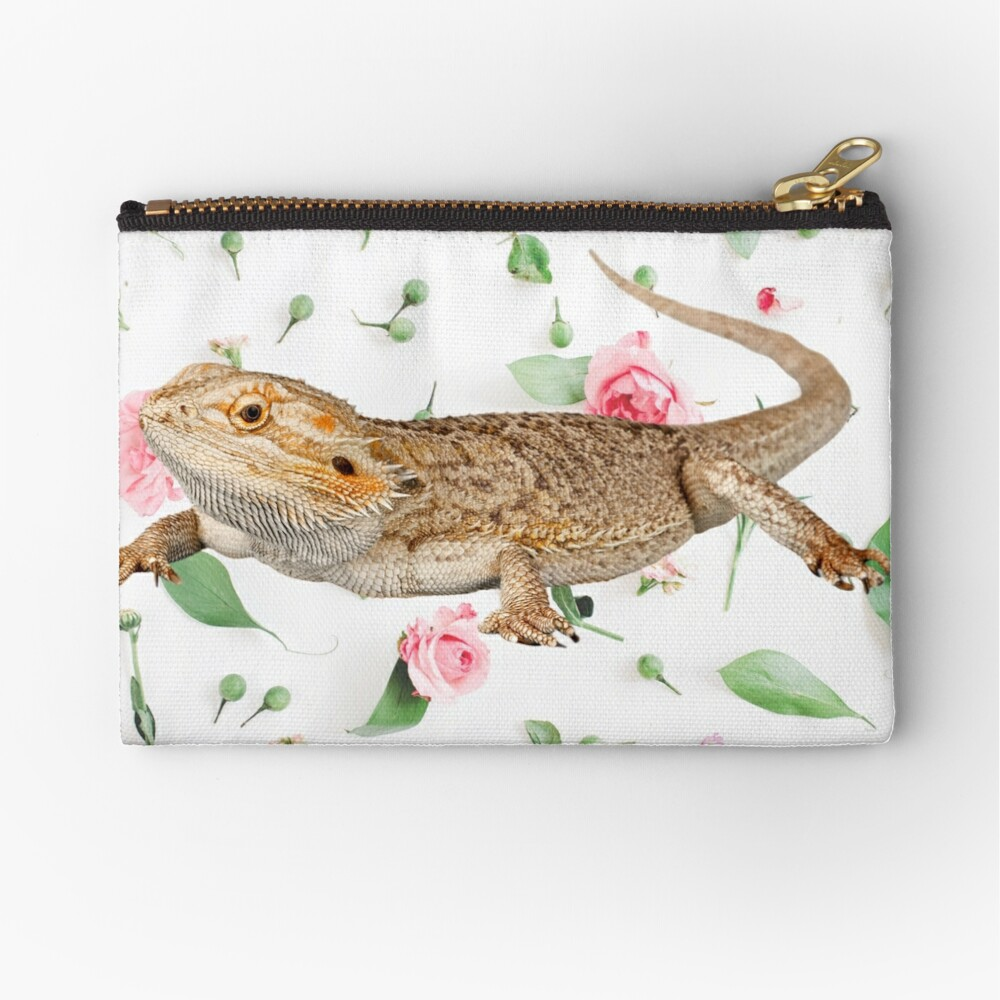 Bearded Dragon On A Carnation Background Zipper Pouch