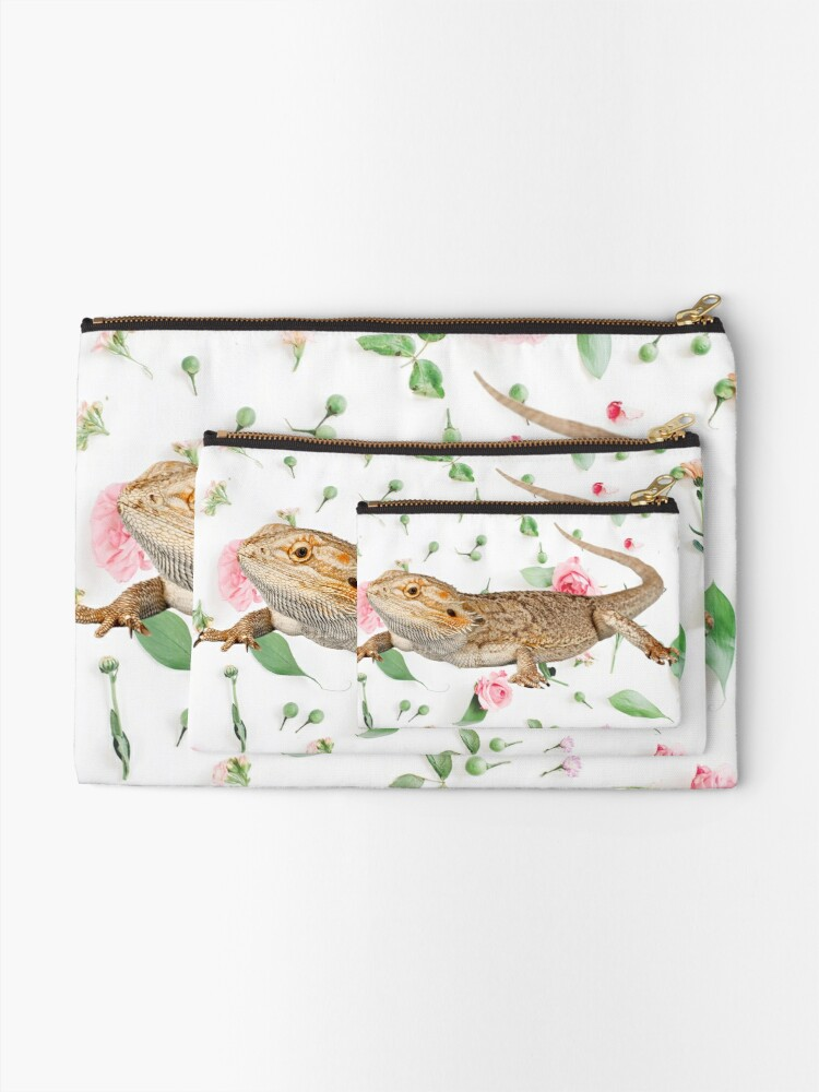 Alternate view of Bearded Dragon On A Carnation Background Zipper Pouch