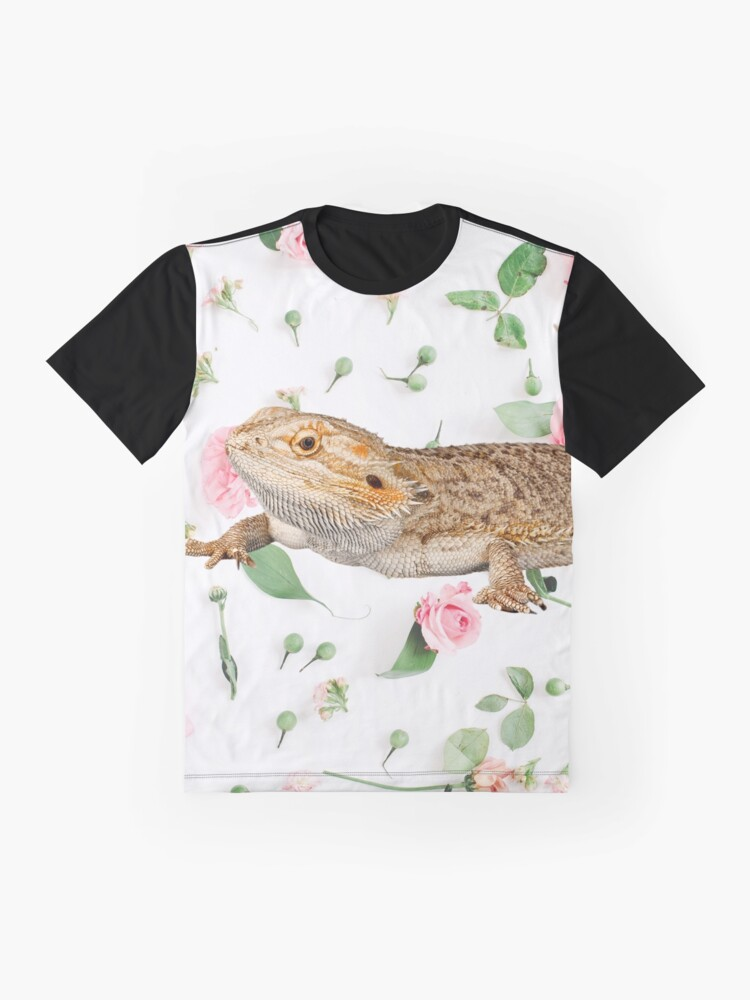 Alternate view of Bearded Dragon On A Carnation Background Graphic T-Shirt
