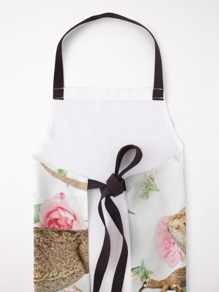 Alternate view of Bearded Dragon On A Carnation Background Apron