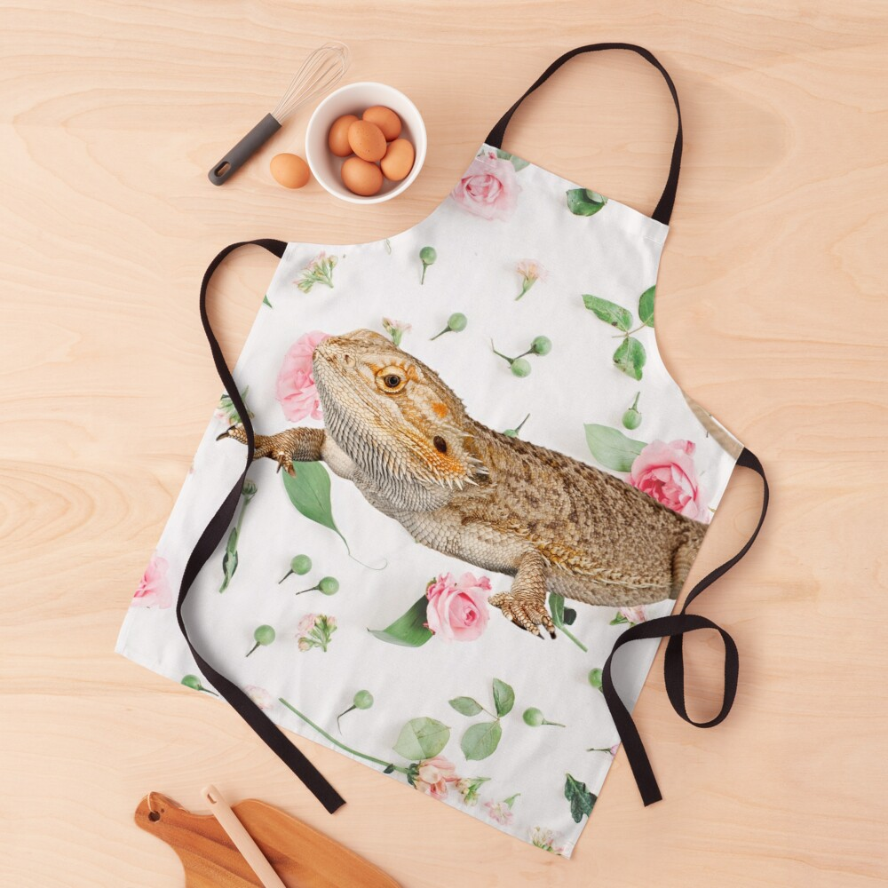 Bearded Dragon On A Carnation Background Apron