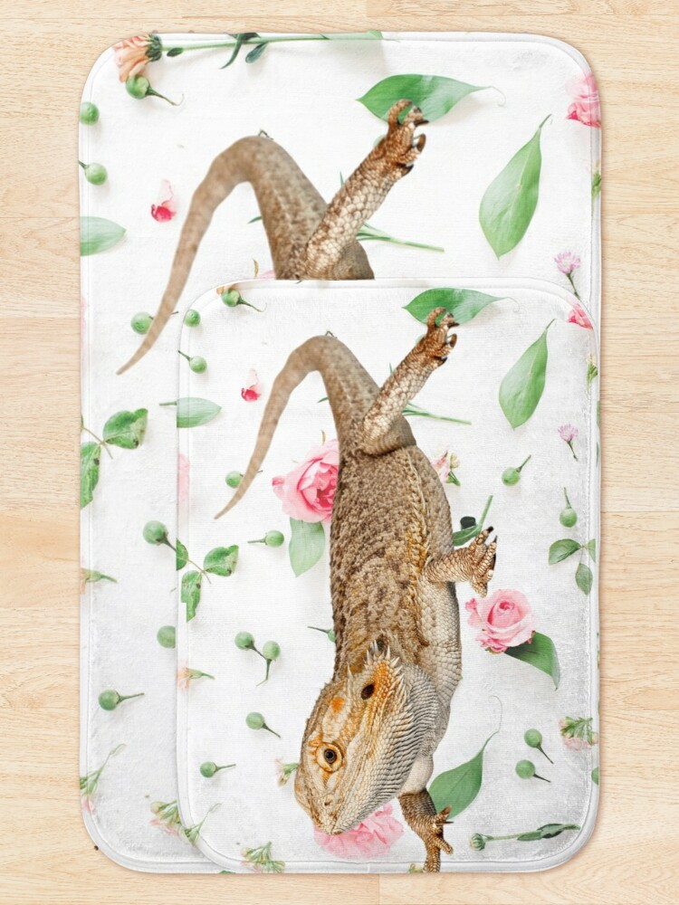 Alternate view of Bearded Dragon On A Carnation Background Bath Mat