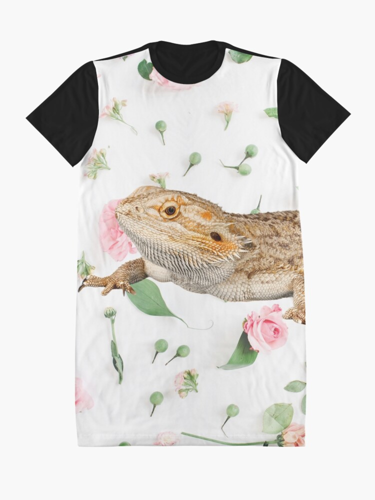 Alternate view of Bearded Dragon On A Carnation Background Graphic T-Shirt Dress