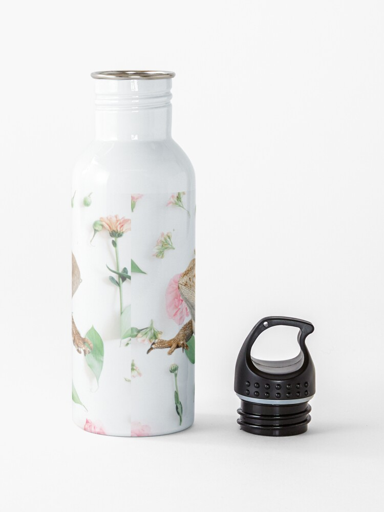 Alternate view of Bearded Dragon On A Carnation Background Water Bottle