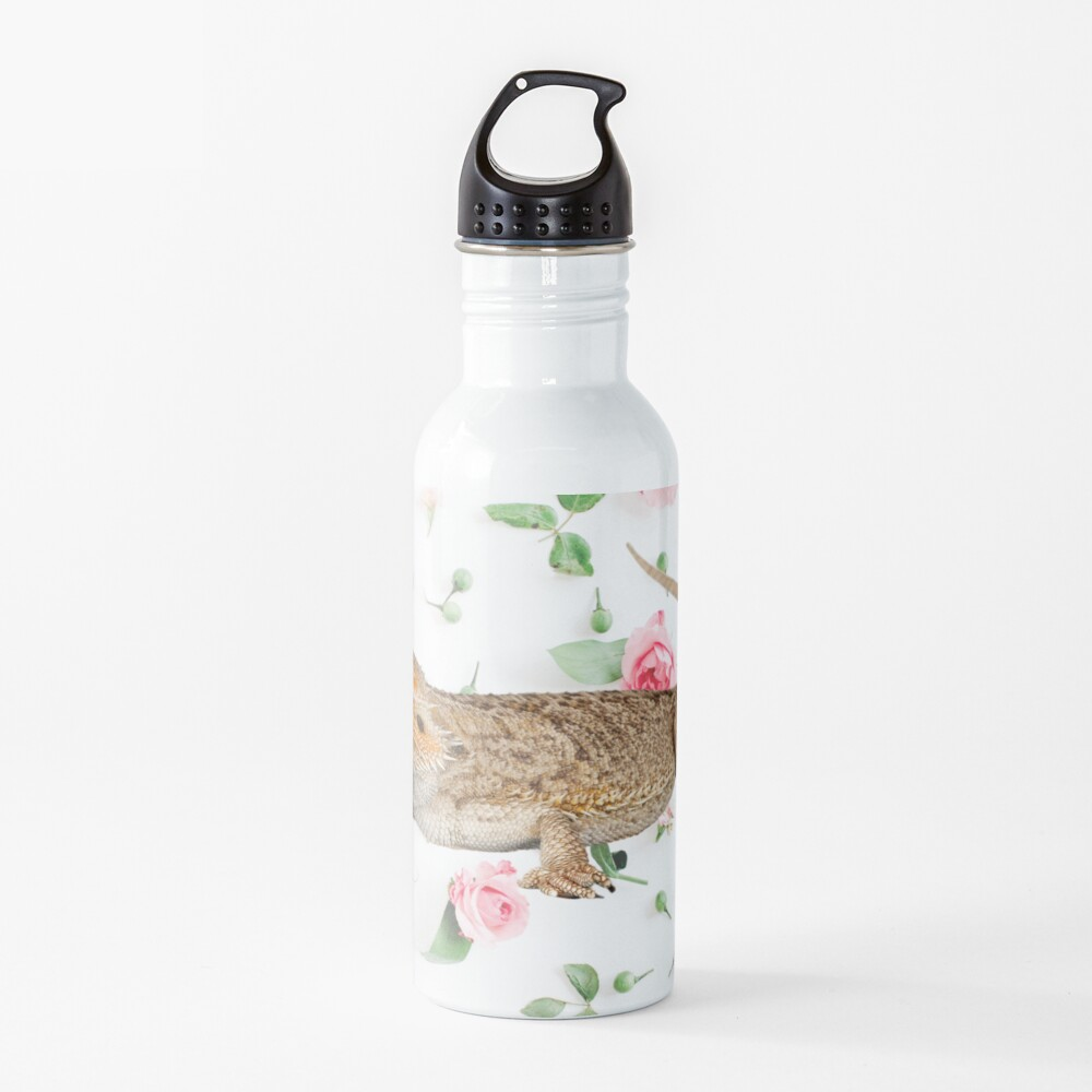 Bearded Dragon On A Carnation Background Water Bottle