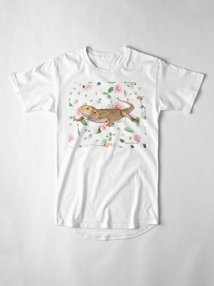 Alternate view of Bearded Dragon On A Carnation Background Long T-Shirt