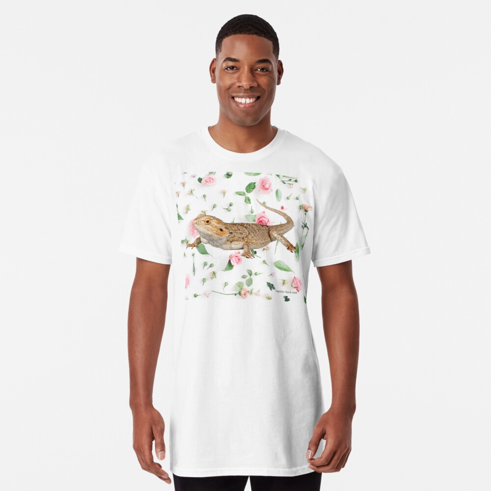 Bearded Dragon On A Carnation Background Long T-Shirt