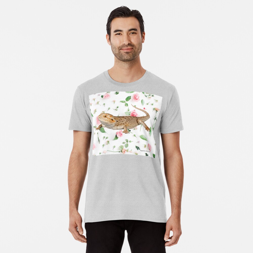 Bearded Dragon On A Carnation Background Premium T-Shirt