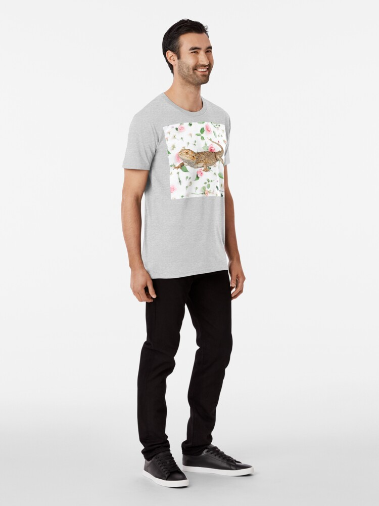 Alternate view of Bearded Dragon On A Carnation Background Premium T-Shirt
